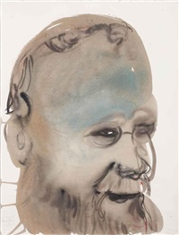 portrait of hermann nietsch by marlene dumas