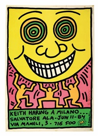 manifesto della mostra da salvatore ala, milano lower right by keith haring