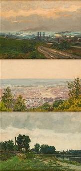 paysage industriel, vue de la sambre et bords de rivière (3 works) by henri daco
