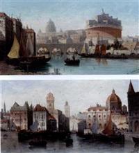 castel sant'angelo, rome (+ a venetian capriccio; pair) by h. garnier