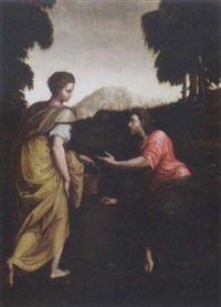 christ and the woman of samaria by luca (romano) penni