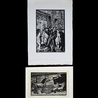 pferdetransport (horse carriage); blumen (2 works) by conrad felixmüller