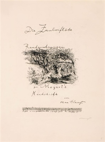 peripheral sketches on mozart´s the magic flute portfolio of 9 wtitle index by max slevogt