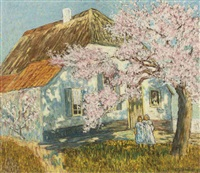 two girls under a blossoming tree by cornelis albert van assendelft