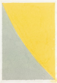 colored paper image vii (yellow curve with gray) by ellsworth kelly