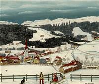 gonten im winter mit alpstein-skilift by albert manser