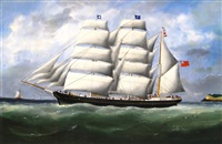 the barque ifafa under full sail leaving le havre by marie-edouard adam