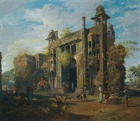 view of the gate of the lal bagh, dacca by robert home
