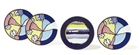 water lilies: three service plates; and abstract: one service plate (4 works) by roy lichtenstein