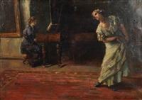 interieur mit tänzerin, von pianistin am klavier begleitet by hans herrmann