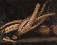 bodegón de cardo y zanahoria by juan (fray) sanchez y cotan