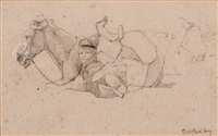 resting against the horse by george hendrik breitner