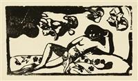 femme, animaux et feuillage. - te arii vahine. - soyez amoureuses, vous serez heureuses. - titre pour: le sourire (+ 2 others; 7 works) by paul gauguin