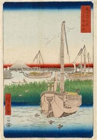 fuji sanjû rokkei (die 36 ansichten des fuji). blatt: tôto tsukada oki (die küste von tsukuda bei der östlichen hauptstadt) by ando hiroshige