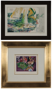 salle privee-monte carlo and americas cup (2 works) by leroy neiman