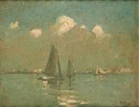 coucher de soleil sur les voiliers by kurt peiser
