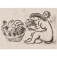 nu à la corbeille de fruits by marc chagall