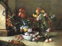roses, carnations and other flowers and plums in a porcelain bowl, by an ewer with roses on a stone floor by niccolino van houbraken