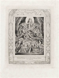 when the almighty was yet with me, when my children were about me (from illustrations of the book of job) by william blake