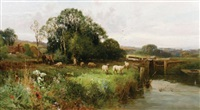 sheep grazing by the river kennet by john horace hooper