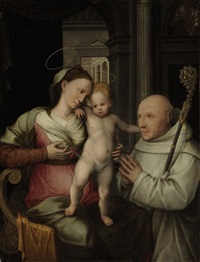 the virgin and child with a cistercian monk by vincent sellaer