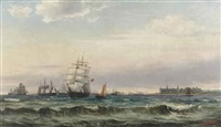 a view of the øresund with kronborg castle by edvard skari