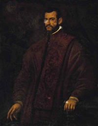 portrait of a gentleman, traditionally identified as andrea bracadri, three-quarter-length, in a brown embroidered coat by domenico tintoretto