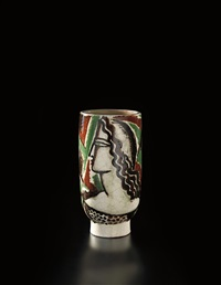 footed cylindrical vase with female portrait by rené buthaud