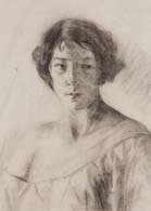 portrait of woman with bare shoulder by mina arndt