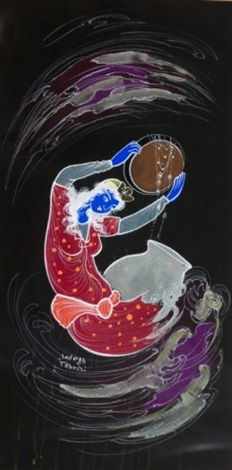blue woman making wine with purple and gray swirling clouds around her figure kneeling with wine next to blue woman holding purple bowl 2 works by sadegh tabrizi