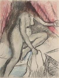 femme nu au levé du lit by edgar degas
