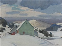 quebec farmhouse with horse and sleigh by george franklin arbuckle