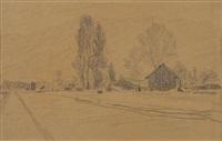 paysage avec rue by albert anker