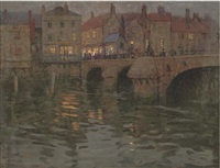 the town bridge, on a summer's evening by charles herbert eastlake