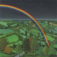 landscape with a rainbow by john hiscock