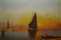 voilier devant venise au crépuscule by roger quintaine
