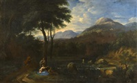 landscape with figures by gaspard dughet