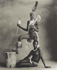 cameroon, standing warrior, seated girl, 1969 by irving penn