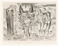 and lo! a serpent with six feet springs forth on one (from illustrations to dante's divine comedy) by william blake