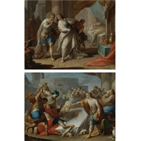 amnon's outrage on behalf of his sister tamar (+ absalom orders the murder of amnon; pair) by andrea celesti