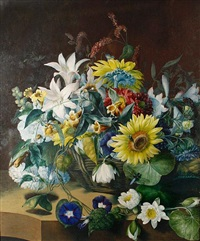 still life flowers in a basket by mary lawrance