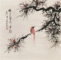 花鸟 镜片 水墨纸本 by li xiongcai
