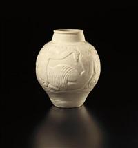 vase with mermaid design by rené buthaud