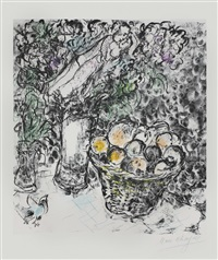 couple et panier de fruits by marc chagall