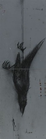 falling dead bird in 2 parts by roa