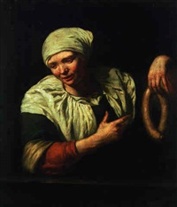 a woman pointing at a sausage by jan van pee