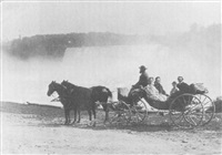 family group in a phaeton posed before niagara falls by platt d. babbitt