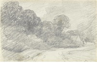 a wooded lane leading towards a house by john constable