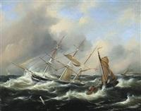 segelschiffe bei stürmischer see by govert van emmerik
