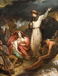 saint dominique sauvant des marchands naufragés dans le rhône by louis-charles-auguste couder